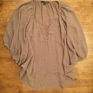 Willi Smith Taupe Brown Blouse Small